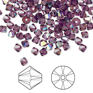 bead, swarovski crystals, amethyst ab, 4mm xilion bicone (5328). sold per pkg of 1,440 (10 gross).