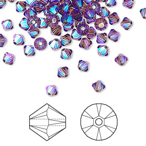 bead, swarovski crystals, amethyst ab2x, 4mm xilion bicone (5328). sold per pkg of 144 (1 gross).