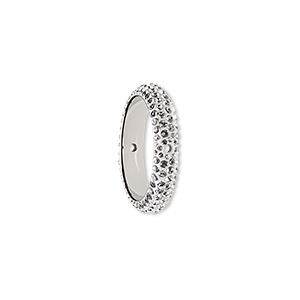 bead, swarovski crystals and epoxy, crystal passions, crystal clear and white, 18.5mm double-drilled pave thread ring (85001). sold individually.