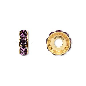 bead, swarovski crystals and gold-plated brass, amethyst, 12x4.5mm becharmed rondelle with 4mm hole. sold per pkg of 144 (1 gross).