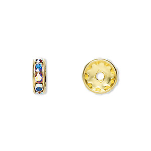 bead, swarovski crystals and gold-plated brass, crystal ab, 10x3.5mm rondelle (77510). sold per pkg of 144 (1 gross).