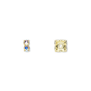bead, swarovski crystals and gold-plated brass, crystal passions, crystal ab, 6x3.5mm square rondelle (77606). sold per pkg of 4.