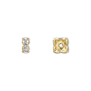 bead, swarovski crystals and gold-plated brass, crystal passions, crystal clear, 8x3.5mm square rondelle (77608). sold per pkg of 4.