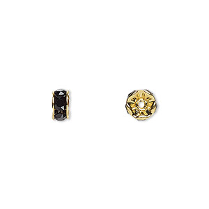 bead, swarovski crystals and gold-plated brass, crystal passions, jet, 6x3.5mm rondelle (77506). sold per pkg of 144 (1 gross).