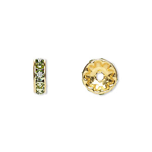bead, swarovski crystals and gold-plated brass, crystal passions, peridot, 10x3.5mm rondelle (77510). sold per pkg of 144 (1 gross).