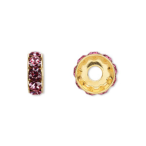 bead, swarovski crystals and gold-plated brass, crystal passions, rose, 12x4.5mm becharmed rondelle with 4mm hole. sold per pkg of 48.