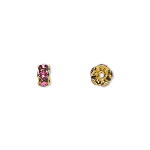 bead, swarovski crystals and gold-plated brass, crystal passions, rose, 6x3.5mm rondelle (77506). sold per pkg of 4.