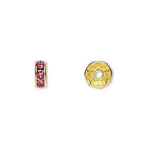 bead, swarovski crystals and gold-plated brass, crystal passions, rose, 8x3.5mm rondelle (77508). sold per pkg of 48.