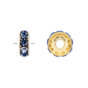 bead, swarovski crystals and gold-plated brass, crystal passions, sapphire, 12x4.5mm becharmed rondelle with 4mm hole. sold per pkg of 48.