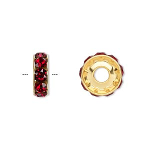 bead, swarovski crystals and gold-plated brass, crystal passions, siam, 12x4.5mm becharmed rondelle with 4mm hole. sold per pkg of 4.