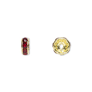 bead, swarovski crystals and gold-plated brass, crystal passions, siam, 8x3.5mm rondelle (77508). sold per pkg of 48.
