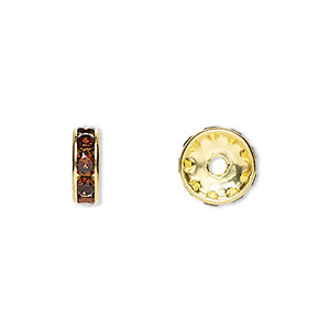 bead, swarovski crystals and gold-plated brass, crystal passions, smoked topaz, 10x3.5mm rondelle (77510). sold per pkg of 144 (1 gross).