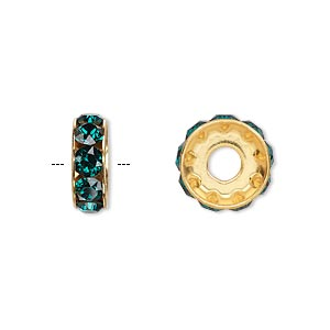 bead, swarovski crystals and gold-plated brass, emerald, 12x4.5mm becharmed rondelle with 4mm hole. sold per pkg of 144 (1 gross).
