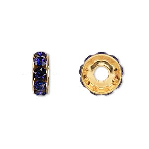 bead, swarovski crystals and gold-plated brass, purple velvet, 12x4.5mm becharmed rondelle with 4mm hole. sold per pkg of 144 (1 gross).