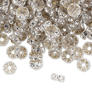 bead, swarovski crystals and plastic, crystal passions, crystal clear and transparent clear, 6x3mm mini rondelle. sold per pkg of 12.