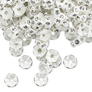 bead, swarovski crystals and plastic, crystal passions, crystal clear and white, 6x3mm mini rondelle. sold per pkg of 144 (1 gross).