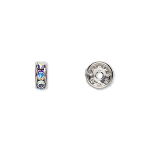 bead, swarovski crystals and rhodium-plated brass, crystal ab, 8x3.5mm rondelle (77508). sold per pkg of 144 (1 gross).
