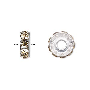bead, swarovski crystals and rhodium-plated brass, crystal golden shadow, 12x4.5mm becharmed rondelle with 4mm hole (77512). sold per pkg of 144 (1 gross).