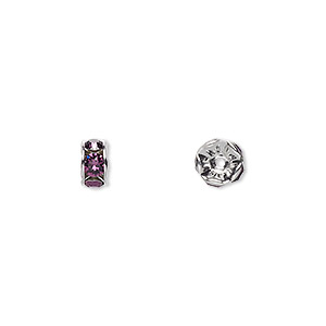 bead, swarovski crystals and rhodium-plated brass, crystal passions, amethyst, 6x3.5mm rondelle (77506). sold per pkg of 144 (1 gross).