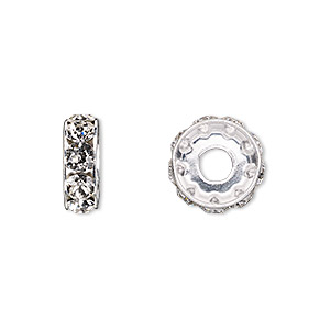bead, swarovski crystals and rhodium-plated brass, crystal passions, crystal clear, 12x4.5mm becharmed rondelle with 4mm hole (77512) sold per pkg of 48.