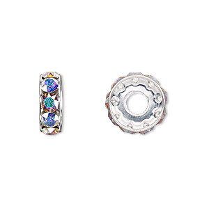 bead, swarovski crystals and rhodium-plated brass, crystal passions, crystal ab, 12x4.5mm becharmed rondelle with 4mm hole (77512). sold per pkg of 48.