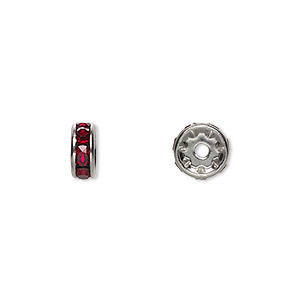 bead, swarovski crystals and rhodium-plated brass, crystal passions, siam, 8x3.5mm rondelle (77508). sold per pkg of 144 (1 gross).