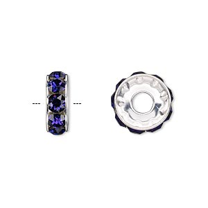 bead, swarovski crystals and rhodium-plated brass, purple velvet, 12x4.5mm becharmed rondelle with 4mm hole (77512). sold per pkg of 144 (1 gross).