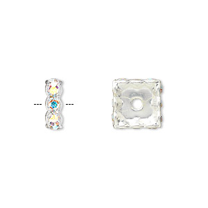 bead, swarovski crystals and silver-plated brass, crystal ab, 10x3.5mm square rondelle (77610). sold per pkg of 48.