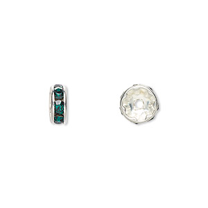 bead, swarovski crystals and silver-plated brass, crystal passions, emerald, 8x3.5mm rondelle (77508). sold per pkg of 48.