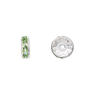 bead, swarovski crystals and silver-plated brass, crystal passions, peridot, 10x3.5mm rondelle (77510). sold per pkg of 48.