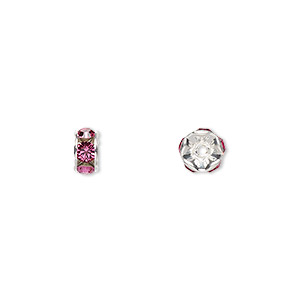bead, swarovski crystals and silver-plated brass, crystal passions, rose, 6x3.5mm rondelle (77506). sold per pkg of 48.