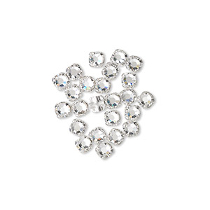 bead, swarovski crystals and silver-plated pewter (tin-based alloy), crystal passions, crystal clear, 3-3.2mm rose montees with 0.4-0.6mm hole (53100), ss12. sold per pkg of 24.