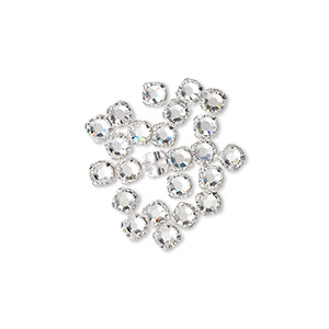 bead, swarovski crystals and silver-plated pewter (tin-based alloy), crystal clear, 3-3.2mm rose montees with 0.4-0.6mm hole (53100), ss12. sold per pkg of 1,440 (10 gross).