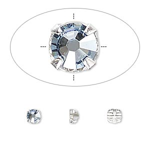 bead, swarovski crystals and silver-plated pewter (tin-based alloy), crystal passions, crystal blue shade, 3.8-4mm rose montees with 0.75-0.85mm hole (53102), ss16. sold per pkg of 24.