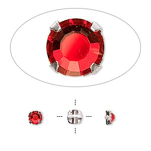 bead, swarovski crystals and silver-plated pewter (tin-based alloy), light siam, 3.8-4mm rose montees with 0.75-0.85mm hole (53102), ss16. sold per pkg of 1,440 (10 gross).