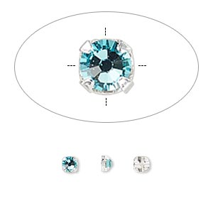 bead, swarovski crystals and silver-plated pewter (tin-based alloy), light turquoise, 3-3.2mm rose montees with 0.4-0.6mm hole (53100), ss12. sold per pkg of 1,440 (10 gross).