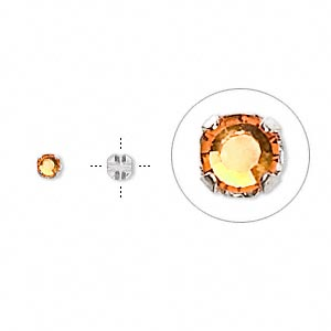 bead, swarovski crystals and silver-plated pewter (tin-based alloy), topaz, 3-3.2mm rose montees with 0.4-0.6mm hole (53100), ss12. sold per pkg of 24.