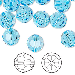bead, swarovski crystals, aquamarine, 10mm faceted round (5000). sold per pkg of 144 (1 gross).