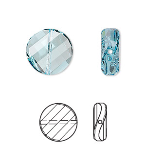 bead, swarovski crystals, aquamarine, 14mm faceted twist with 1-1.6mm hole (5621). sold per pkg of 96.