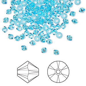bead, swarovski crystals, aquamarine, 3mm xilion bicone (5328). sold per pkg of 144 (1 gross).