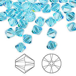 bead, swarovski crystals, aquamarine, 6mm xilion bicone (5328). sold per pkg of 144 (1 gross).