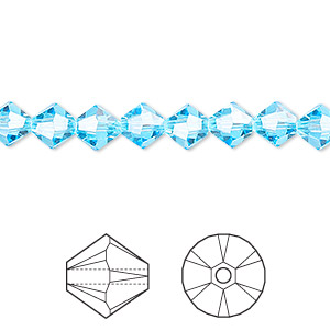 bead, swarovski crystals, aquamarine, 6mm xilion bicone (5328). sold per pkg of 24.