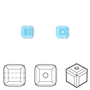 bead, swarovski crystals, aquamarine, 6x6mm faceted cube (5601). sold per pkg of 144 (1 gross).