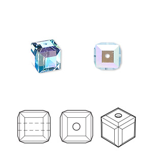 bead, swarovski crystals, aquamarine ab, 8x8mm faceted cube (5601). sold per pkg of 96.
