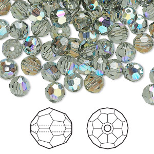 bead, swarovski crystals, black diamond ab, 6mm faceted round (5000). sold per pkg of 360.