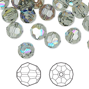 bead, swarovski crystals, black diamond ab, 8mm faceted round (5000). sold per pkg of 288 (2 gross).