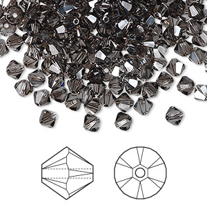 bead, swarovski crystals, black diamond satin, 4mm xilion bicone (5328). sold per pkg of 1,440 (10 gross).