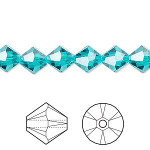bead, swarovski crystals, blue zircon, 8mm xilion bicone (5328). sold per pkg of 288 (2 gross).