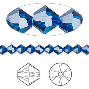 bead, swarovski crystals, capri blue, 5mm xilion bicone (5328). sold per pkg of 24.