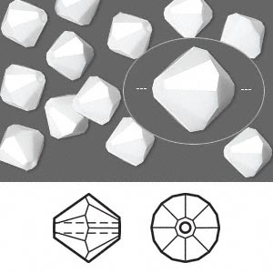bead, swarovski crystals, chalk white, 8mm faceted bicone (5301). sold per pkg of 12.